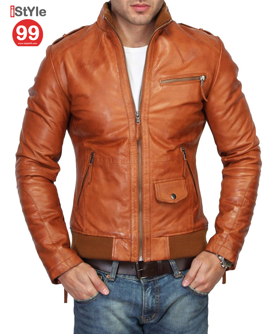 Slim Fit Leather Jacket @ 64% OFF Rs 6690.00 Only FREE Shipping   ...
