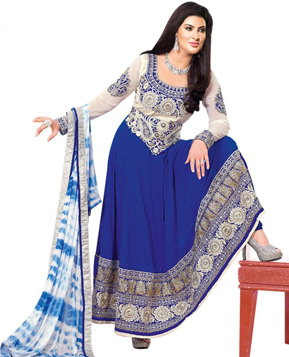 82a3ac1d1f New Beautiful Fancy Blue and White Anarkali suit @ Rs1422.00. Sold Out