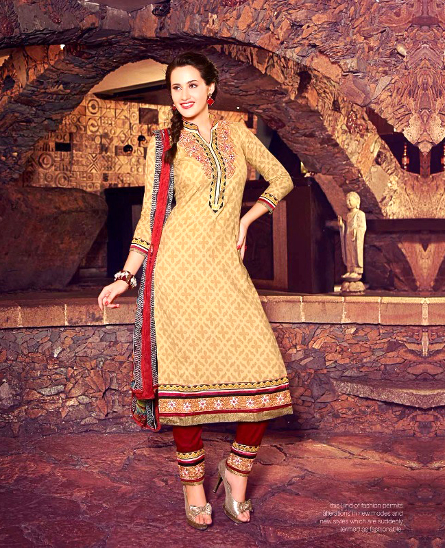 Designer Brasso Cotton Suit with Dupatta @ 90% OFF Rs 353.00 Only ...