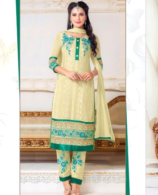 35001558e21e Faux Georgette Embroidered Semi Stitched Suit @ 44% OFF Rs 1750.00 ...