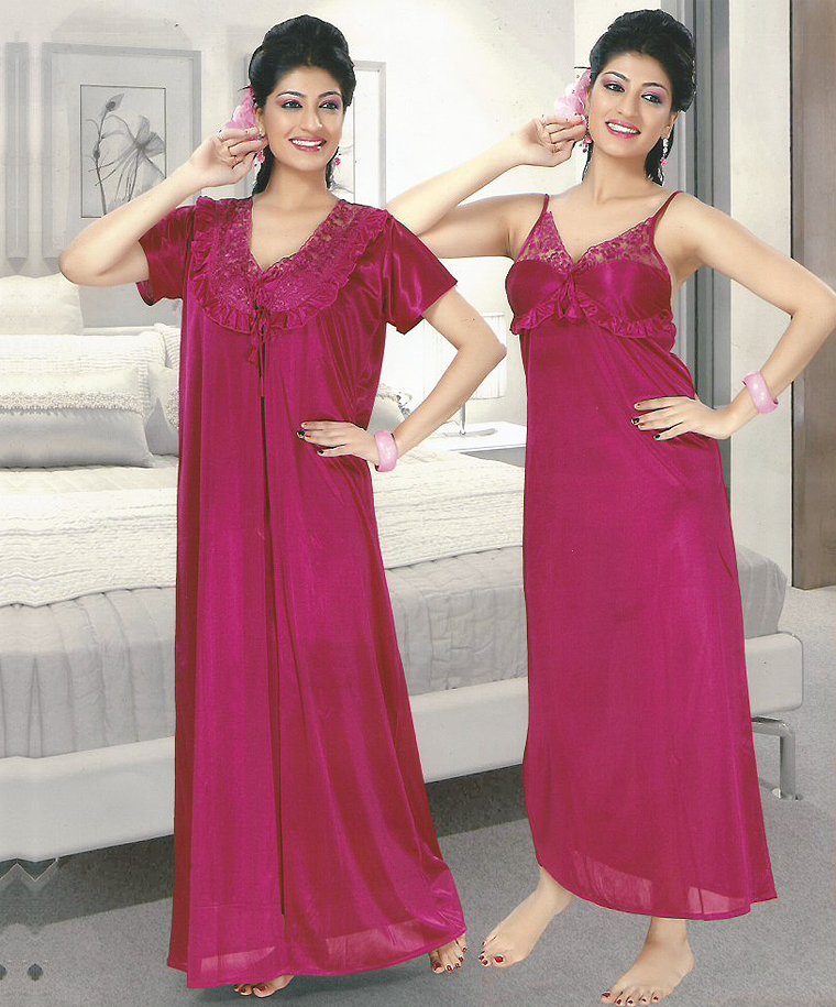b2a354a00a 2-Piece Set Of Pink Satin Nightwear   44% OFF Rs 1338.00 Only FREE ...