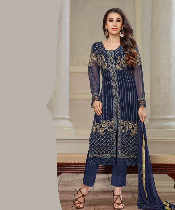 68136e8d84 THANKAR NEW DESIGNER NAVY BLUE STRAIGHT PLAZO SUIT @ Rs2409.00. Sold Out