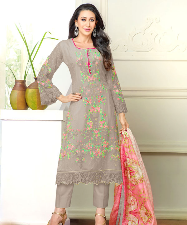 be7bd23ede DESIGNER GREY STRAIGHT PLAZO SUIT @ 31% OFF Rs 1915.00 Only FREE ...