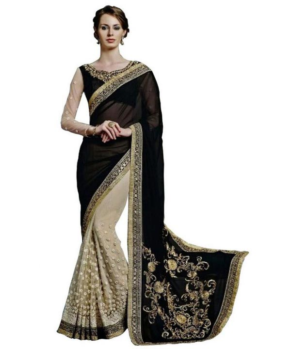 28fad07f3a Heavy Embroidered Pure Georgette Black saree @ 38% OFF Rs 1731.00 ...