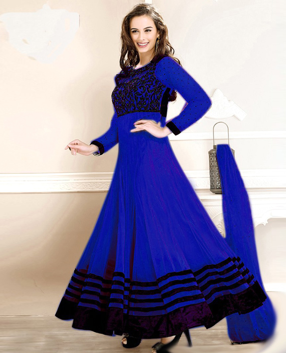 New Fancy Evelyn sharma Blue Embroidered anarkali suit @ 49% OFF ...