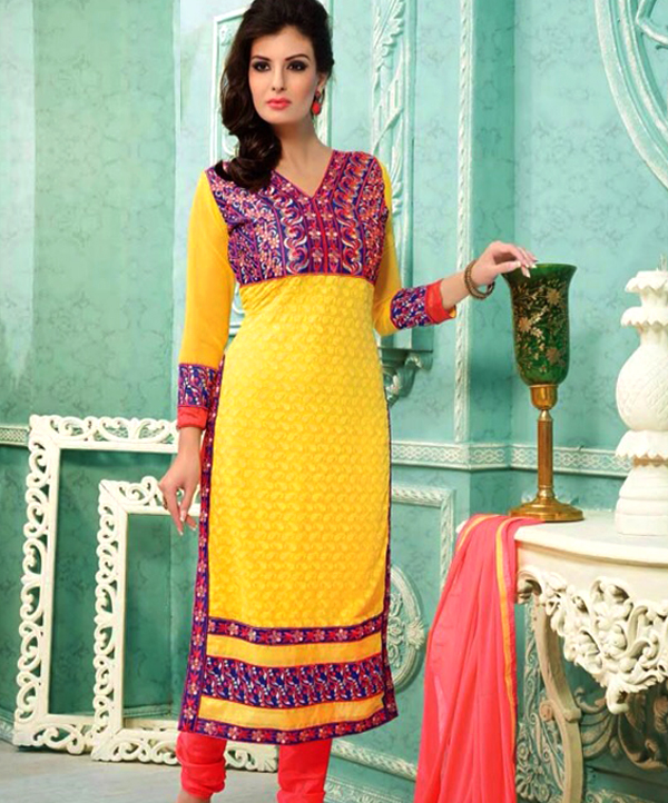 a789b94190d4d Embroidered Designer Straight Suit @ 80% OFF Rs 711.00 Only FREE ...