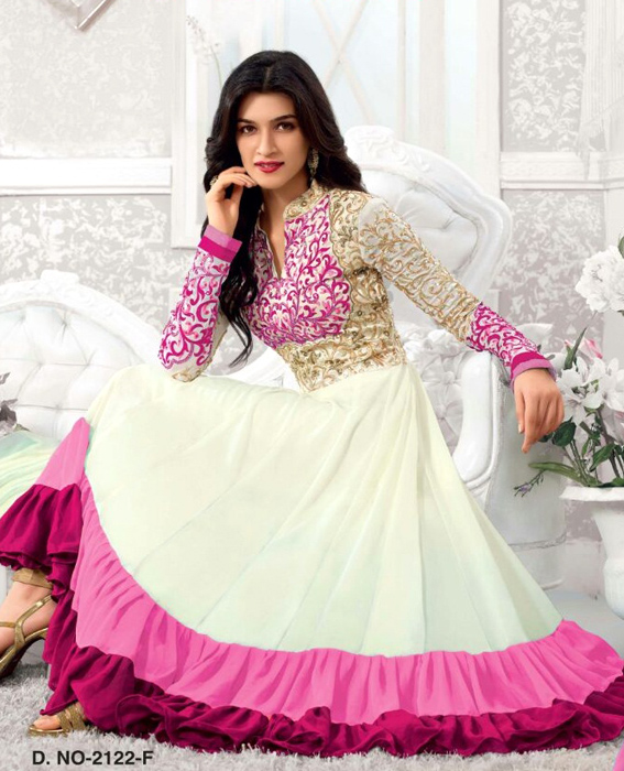 9e2f6fac79 New Fancy pink & White Anarkali Suite @ 45% OFF Rs 1384.00 Only FREE ...