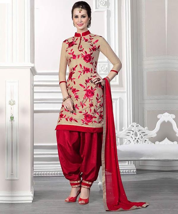 08480132dc Cream And Red Cotton Patiala Suit Collection @ 41% OFF Rs 741.00 ...