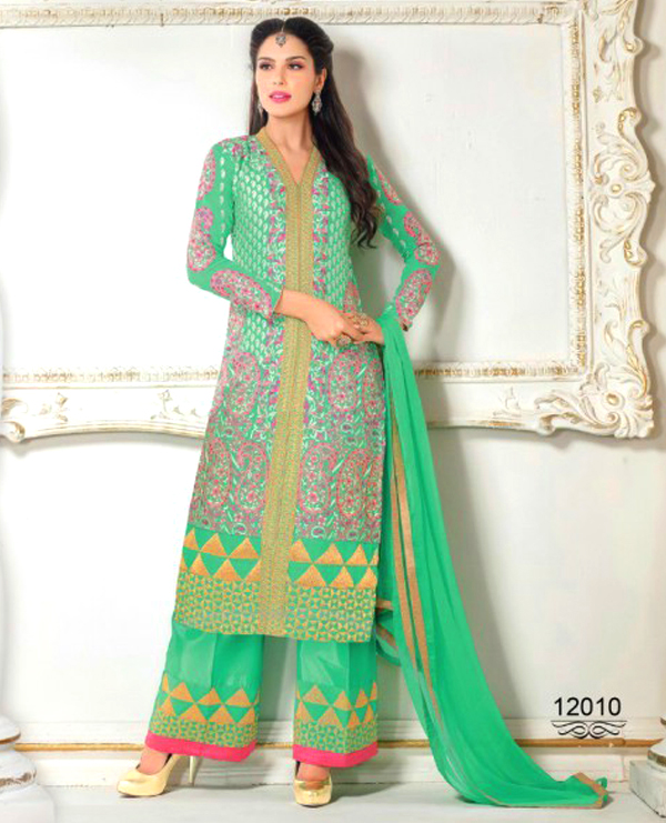 064a11915 Faux Georgette Embroidered Semi Stitched Suit   44% OFF Rs 1750.00 ...