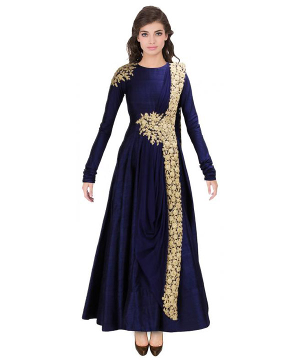 New blue floor touch embroidered designer gown gown buy for Floor touch gown