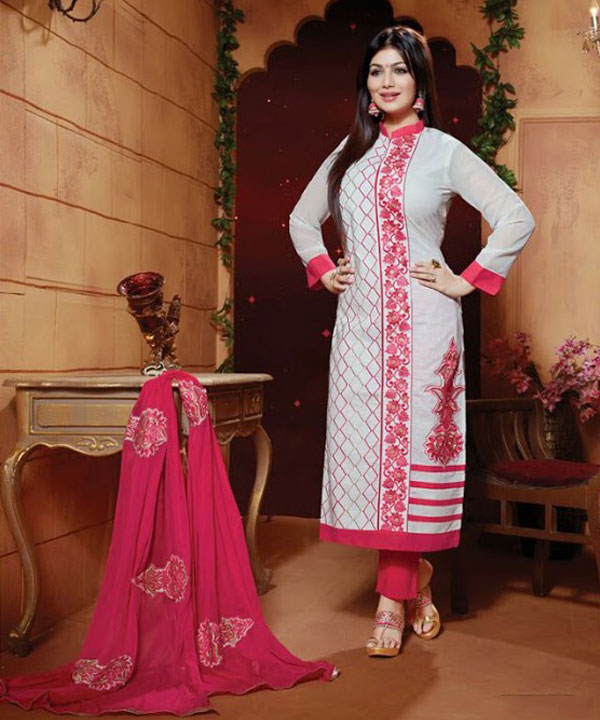 Designer Semi stitched Cotton embroidered long straight suit @ 60 ...