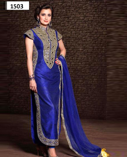 1503_latest blue colour salwar suit- dress material, Buy dress ...