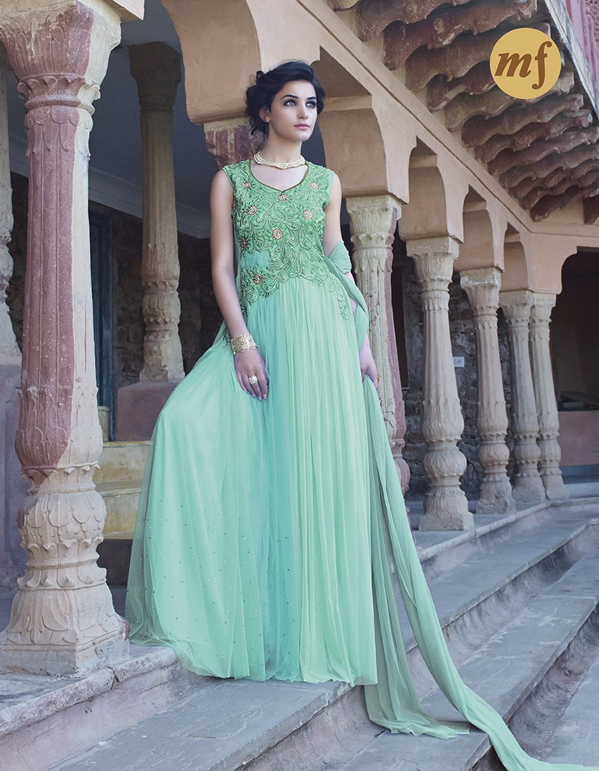 Impeccable Turquoise Color Party Wear Embroidered Gown @ 42% OFF Rs ...