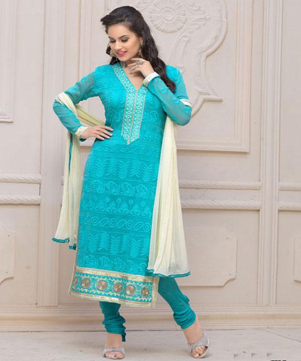 4bd8c60f18 Designer Sky Blue Chiffon Dress Material @ Rs926.00. Sold Out. Designer Sky  Blue Chiffon Dress Material @ 62% OFF Rs 926.00 Only ...