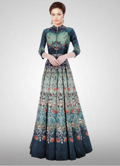 Designer New Turquoise Long Printed Semi Stitched Gown- gown,dress ...