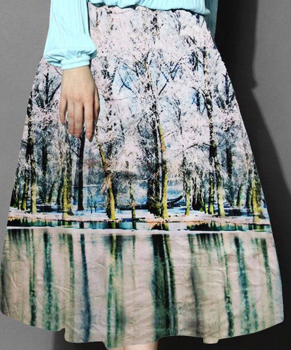 8aded7b818 Sold Out. White & Sky Blue Colour Printed Womens Skirt @ 52% OFF Rs 988.00 Only  FREE