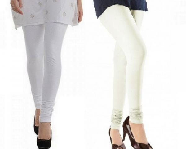 b21e4778f1d75 Cotton White and Off White Color Leggings Combo @ 31% OFF Rs 407.00 ...