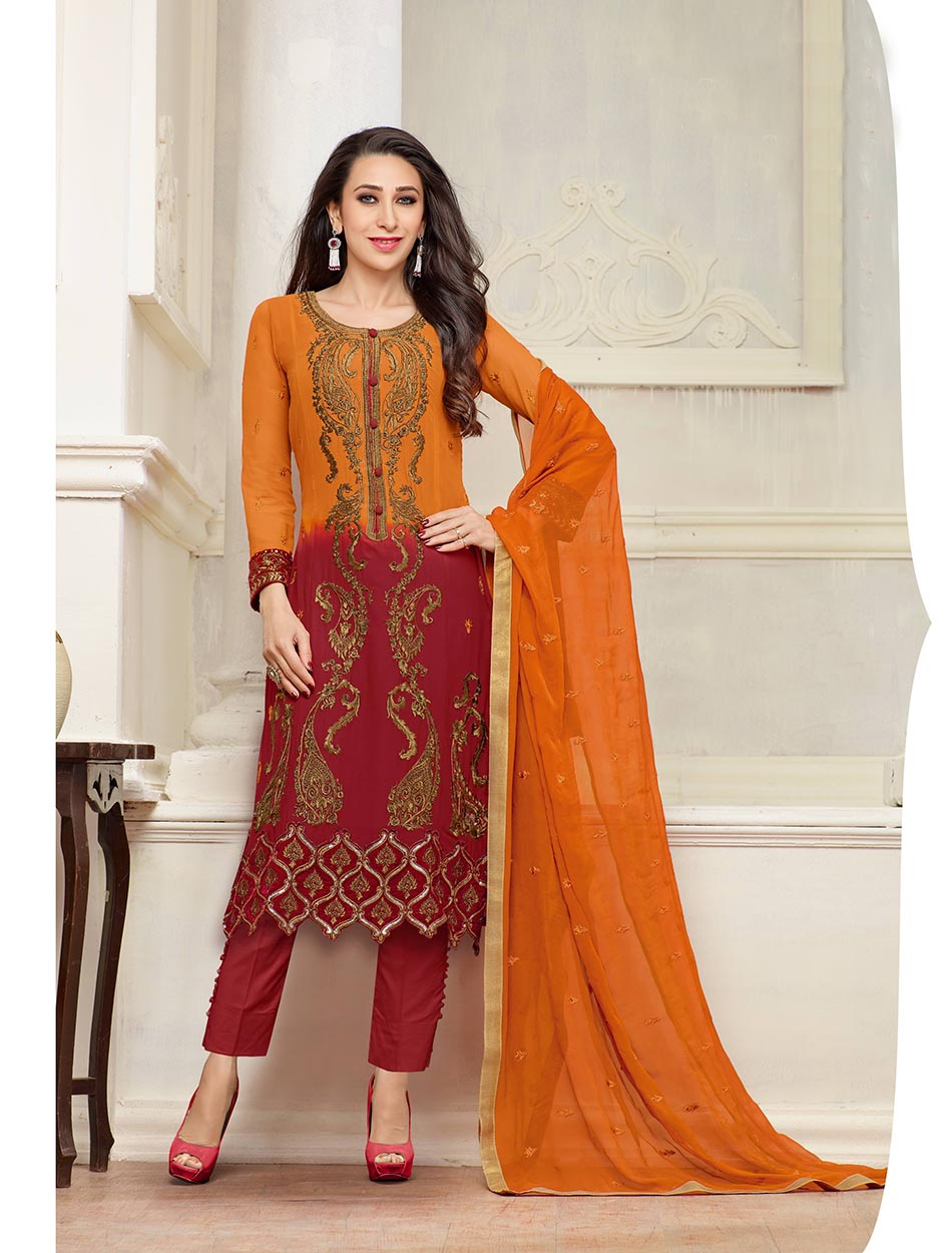54479d60e5 THANKAR NEW DESIGNER ORANGE AND MAROON STRAIGHT PLAZO SUIT @ Rs2409.00.  Sold Out