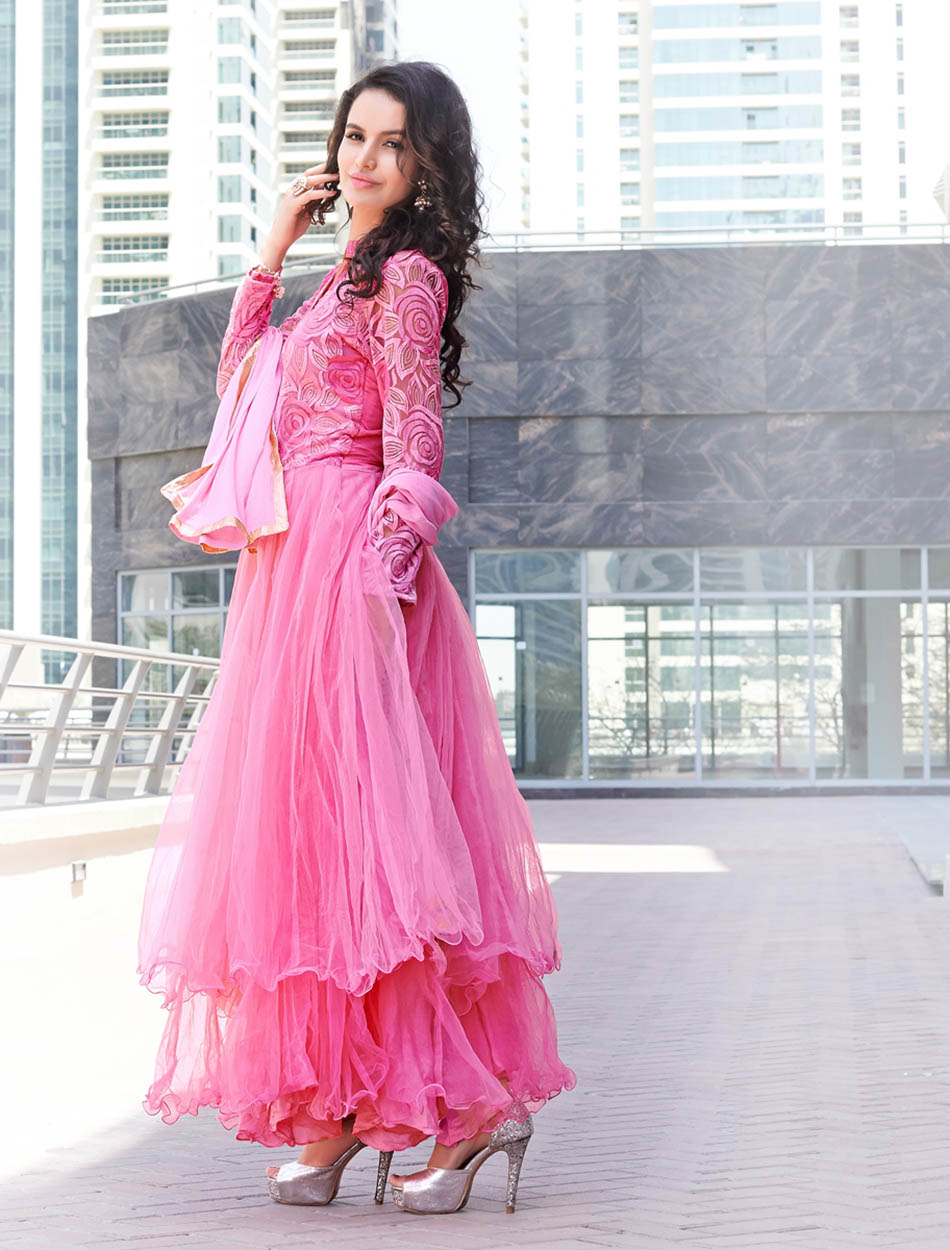 78db26e939 THANKAR LATEST DESIGNER PINK LONG SLEEVE ANARKALI SUIT @ 51% OFF Rs ...