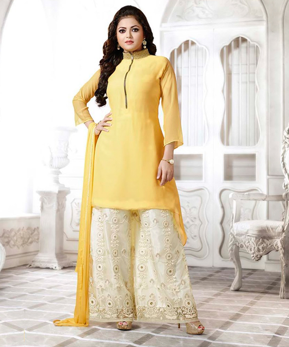 5ef6a2c7c30 THANKAR LATEST YELLOW DESIGNER LONG SLEEVE PLAZO SUIT   Rs1791.00. Sold Out