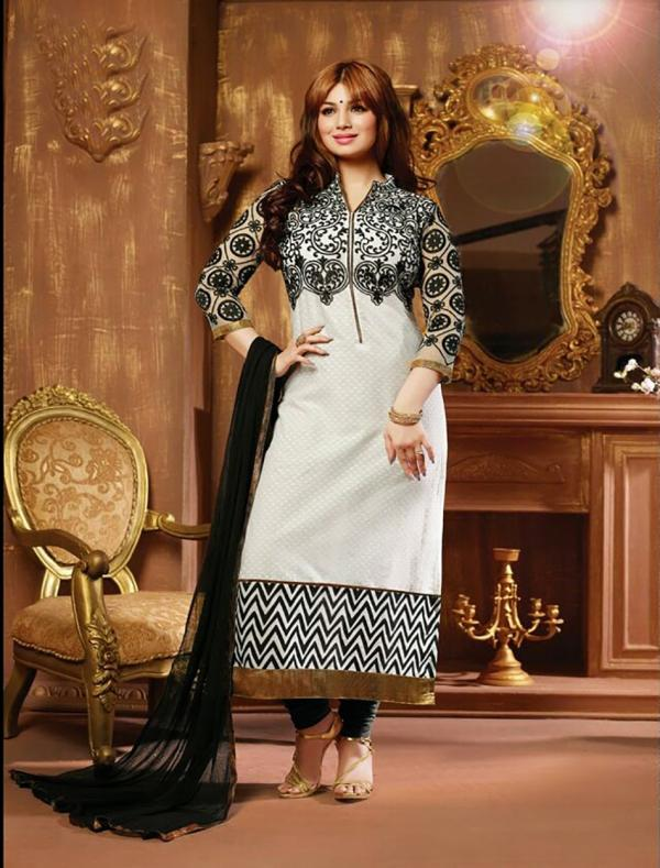 34cd0e7a6e4e THANKAR BLACK AND WHITE COTTON STRAIGHT SUIT   45% OFF Rs 988.00 ...