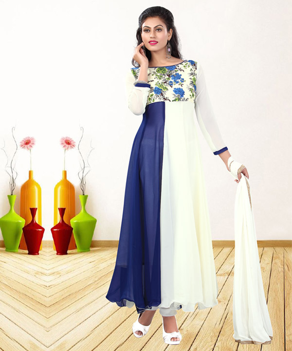 57f010ee5 WHITE & NAVY BLUE PRINTED GEORGETTE ANARKALI SUIT @ Rs1235.00. Sold Out