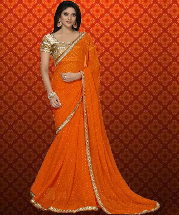 6785e0e71 Orange Plain Saree   31% OFF Rs 1359.00 Only FREE Shipping + Extra ...