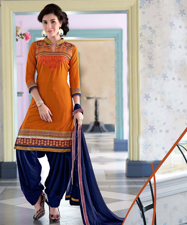 5340bd90551 EMBROIDERED YELLOW AND BLUE PATIYALA STYLE SALWAR KAMEEZ   Rs1482.00. Sold  Out