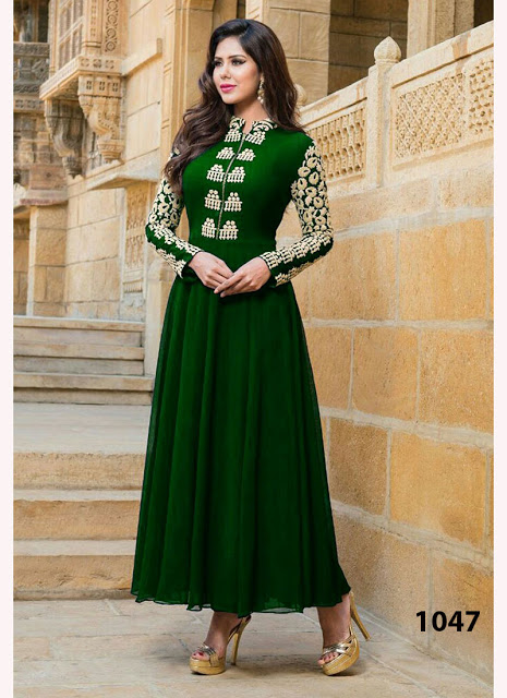 Dark Green Georgette Long Anarkali Suit 31 Off Rs 742 00 Only