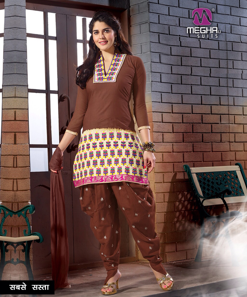 8d839fb40eef Brown Embroidered Printed Cotton Patiala Suit   68% OFF Rs 788.00 ...