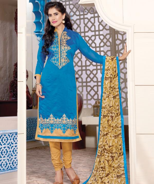 e9cb034e7 Chanderi Cotton Embroidery Salwar Kameez with Dupatta @ Rs629.00. Sold Out