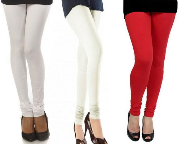 2afe1a7584d24 Cotton White,Off-White And Red Color Leggings Combo Of 3 @ Rs617. Sold Out