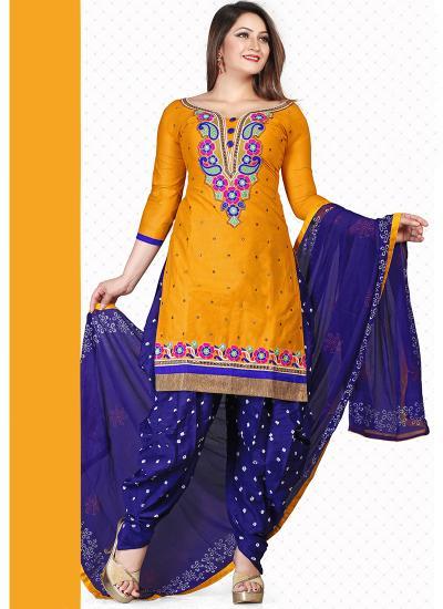 37bc18e7e4121 Yellow & Dark Blue Pure Cotton Dress Material- New Yellow & Dark ...
