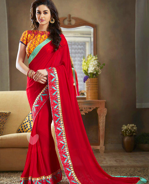Georgette Embroidered Saree with Banglori Slik Blouse @ Rs1803.00. Sold Out