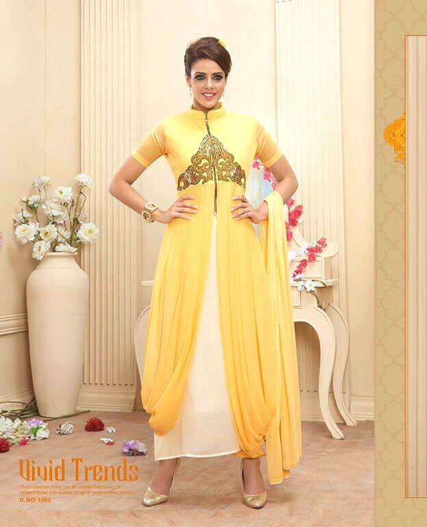 79eb1122509 Heavy Georgette Indo Western Designer Dress   73% OFF Rs 2059.00 ...